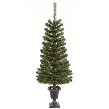 4 ft. Pre-Lit Green Spruce Potted Christmas Trees, 2 Pack