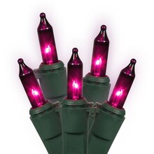 Set of 50 Pink/Purple Mini Christmas Lights, Green Wire