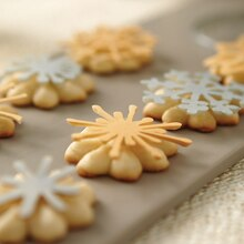 Christmas Spritz Cookies With Metallic Candy Snowflakes, medium