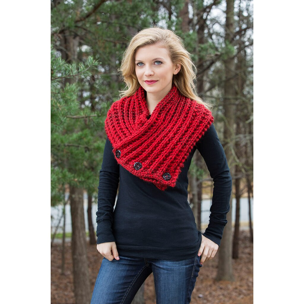 Loops & Threads® Charisma Tweed™ Buttoned Heather Knit Snood