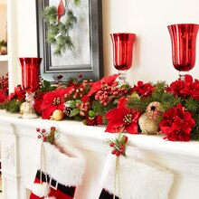 Traditional Floral Mantel Garland, medium