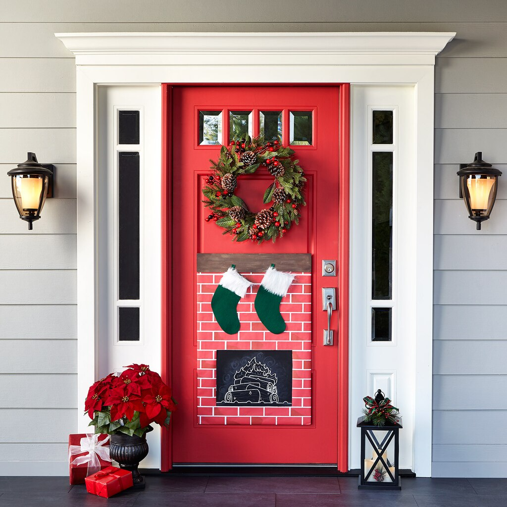 Door Decorations Christmas Contest: Christmas Fireplace Door Decor