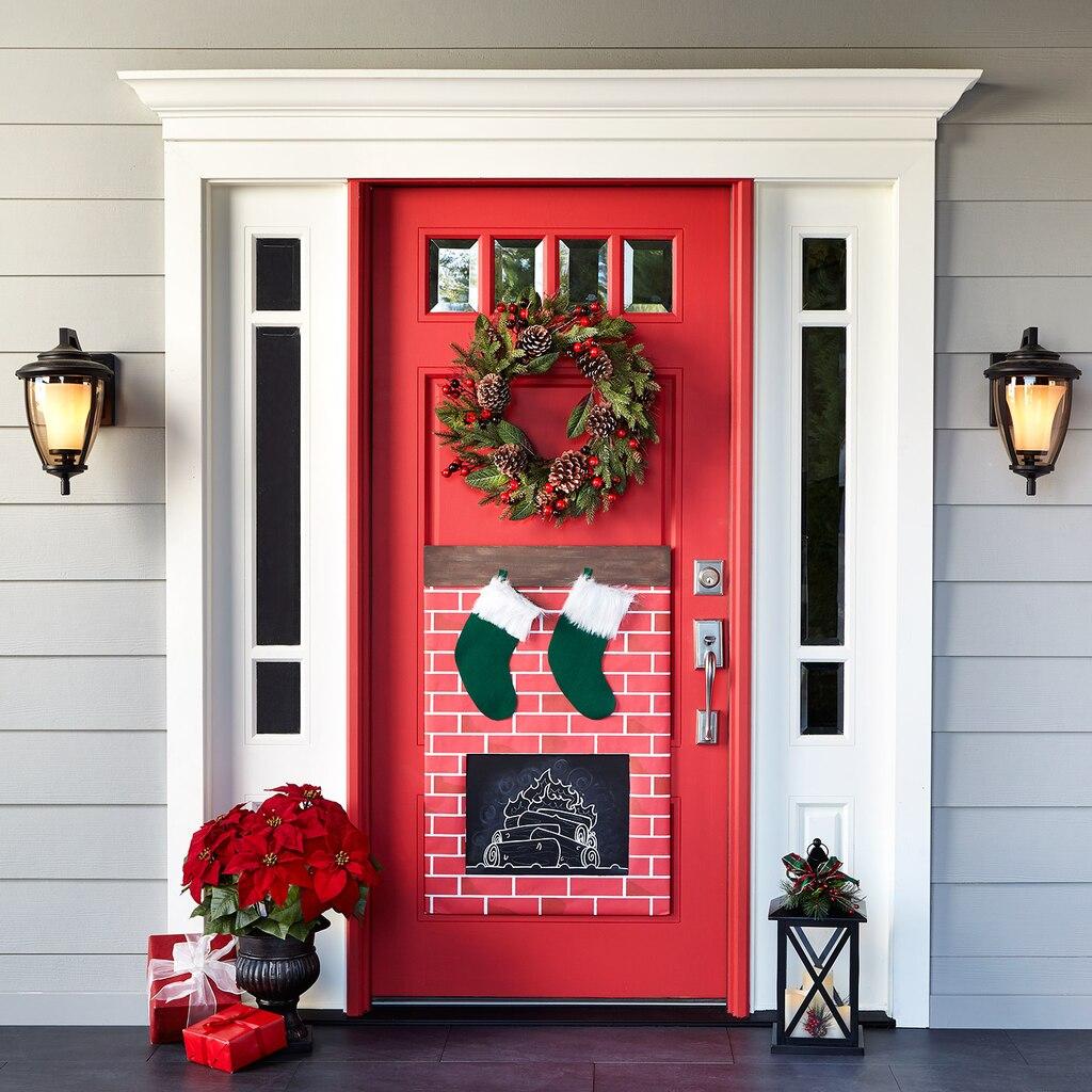 christmas fireplace door decor. Black Bedroom Furniture Sets. Home Design Ideas