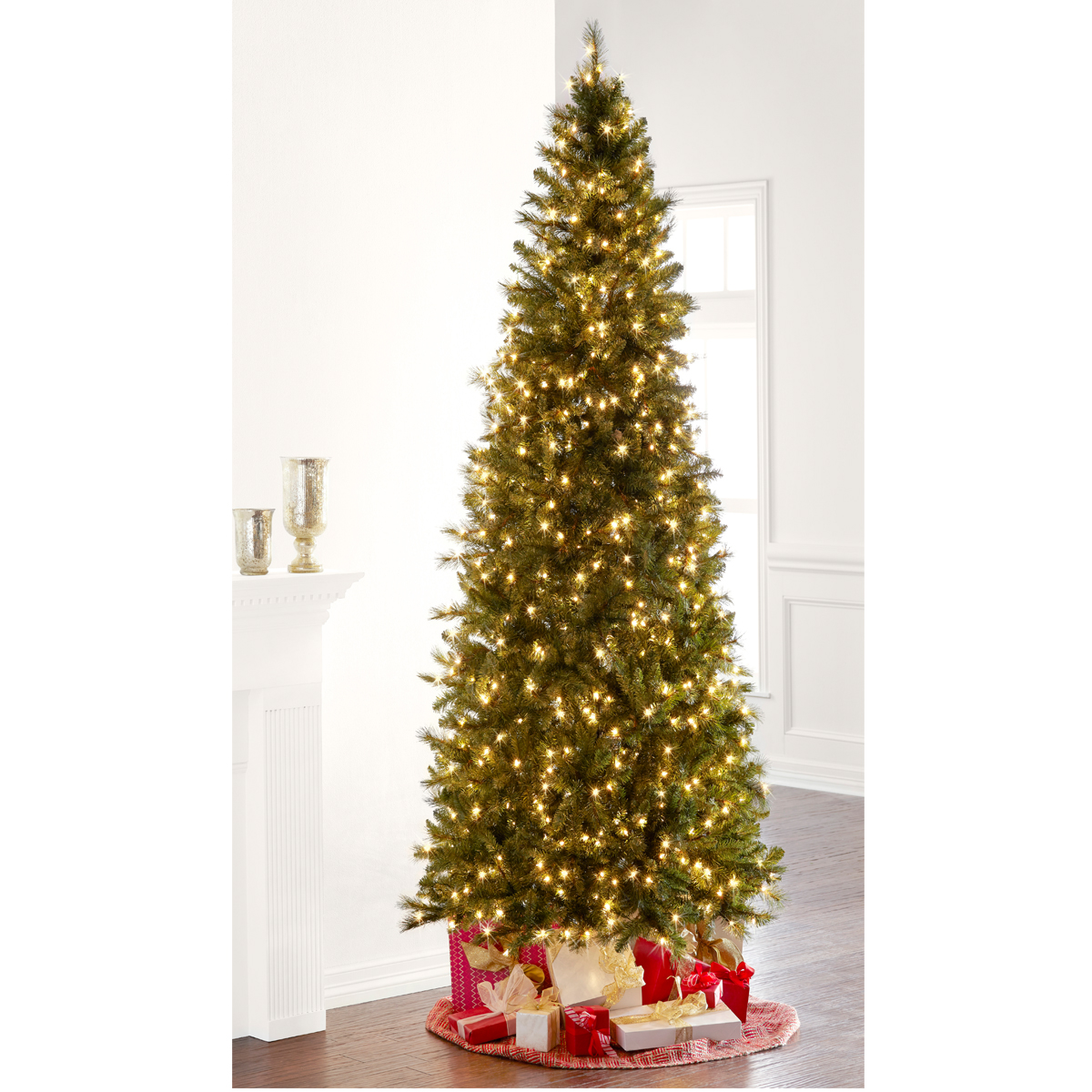 9 Ft. Pre-Lit Slim Willow Pine Artificial Christmas Tree, Clear ...