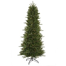 9.5 ft. Pre-Lit Slim Vermont Fir Instant Shape Artificial Christmas Tree, Multi Lights