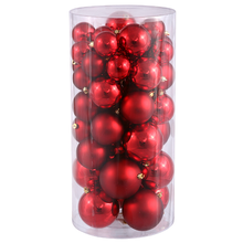 "1.5"" - 2"" Shatterproof Shiny & Matte Christmas Ball Ornaments, Red Hot"