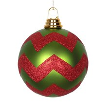 Lime Green & Red Chevron Shatterproof Christmas Ball Ornament