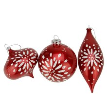 Candy Red & White Glitter Star-Burst Christmas Ornaments 7""