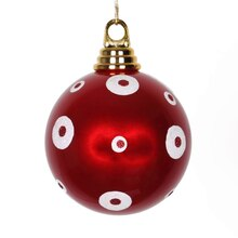 Polka Dots Christmas Ball Ornament, Candy Apple Red with White Glitter