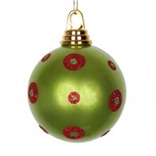 Polka Dots Christmas Ball Ornament, Candy Lime Green with Red Glitter