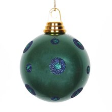 Polka Dots Christmas Ball Ornament, Candy Teal Green with Sea Blue Glitter