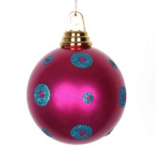 Polka Dots Christmas Ball Ornament, Candy Pink with Turquoise Blue Glitter