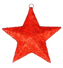 Lighted Sisal Hanging Christmas Star Window Decoration, Red