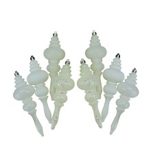 Winter White 4-Finish Regal Shatterproof Finial Christmas Ornaments