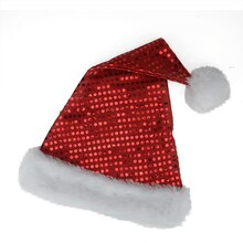 Sparkling Red & White Metallic Sequin Glitter Christmas Santa Hat