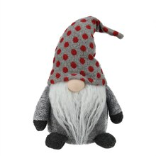Plush Gray Gnome Friend with Red Polka Dot Cap