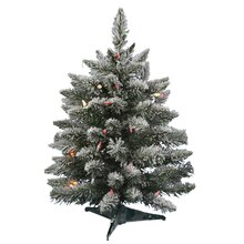 3 ft. Pre-Lit Flocked Sugar Pine Artificial Christmas Tree, Multicolor LED Lights