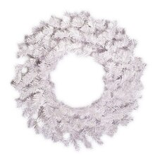 """24"""" Crystal White Artificial Christmas Wreath, Unlit"""