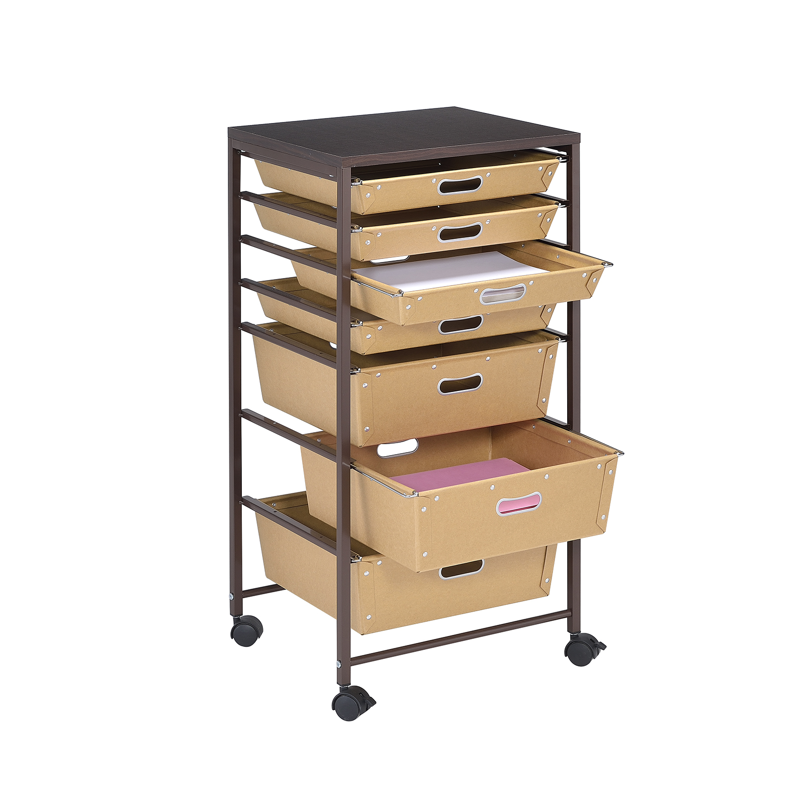 paper drawer rolling cart by