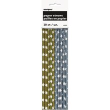 Silver and Gold Star Paper Straws, 10ct