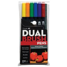 Tombow Dual Brush Pen 6-Color Set, Primary