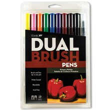 Tombow Dual Brush Pen 10-Pen Set, Primary