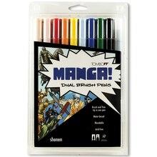 Tombow Dual Brush Pen 10-Pen Set, Manga Shonen