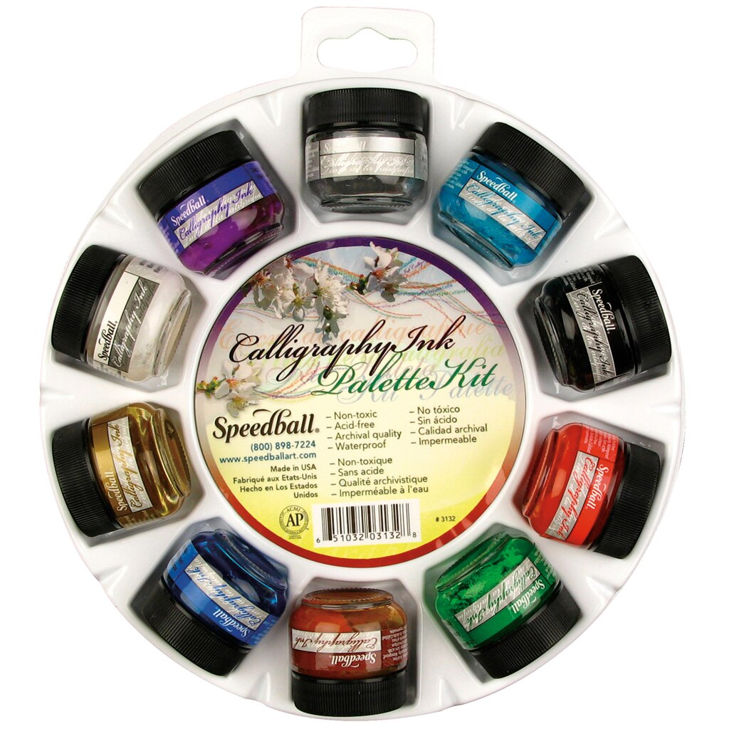 Speedball Pigmented Acrylic Ink Palette Set 10 Color Set