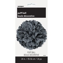 "Black and Silver Damask Tissue Paper Pom Pom, 14"", Package"