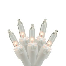 Clear Mini Icicle Christmas Lights, White Wire Bulbs