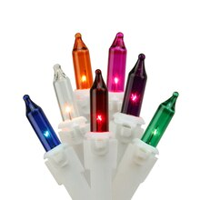 Multicolor Mini Icicle Christmas Lights, White Wire Bulbs