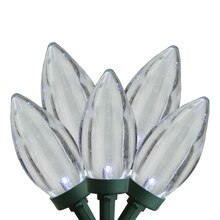 Set of 50 Pure White LED C9 Christmas Lights - Green Wire