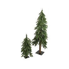 2 ft. & 4 ft. Downswept Woodland Alpine Artificial Christmas Trees, Unlit
