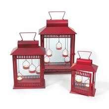 Red Tealight Lanterns, Set of 3