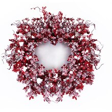 Red Mixed Berry Wreath, Snow Covered
