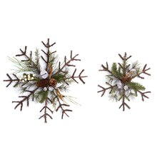 Snowflake Pine Cone/Jingle Bell Decoration (Set of 2)