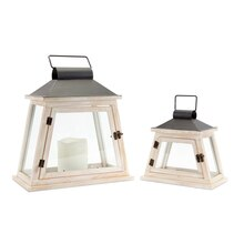 Distressed White Lantern Set