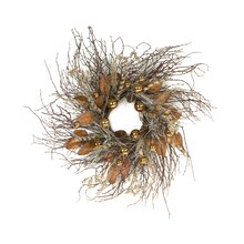 Twig Wreath With Leaves & Ornaments
