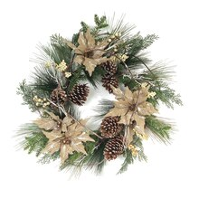 Mixed Pine & Poinsettia Wreath with Cones