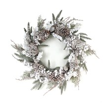 Frosted Pine & Berry Wreath with Cones, medium
