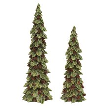 Holly Trees with Pinecone Detail, Set of 2
