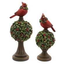 Mistletoe Topiary Finial w with Cardinal, Set of 2