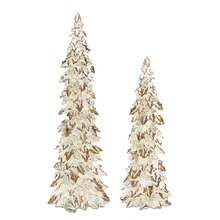 White Holly Trees with Pinecone Detail, Set of 2