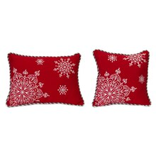 Snowflake Pillow with Gems, Set of 2