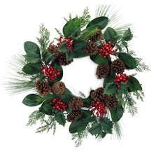 Mixed Pine, Foliage Wreath with Berries