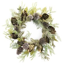 Mixed Foliage Wreath with Pinecones