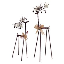 Standing Reindeer Tea Light Holder (Set of 2)