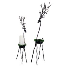 Deer Candle Holders with Pine Wreath (Set of 2)