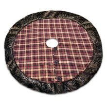 Plaid Tree Skirt With Fur Edge