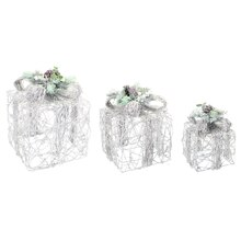 LED Snowy Gift Box Set, 3 Count